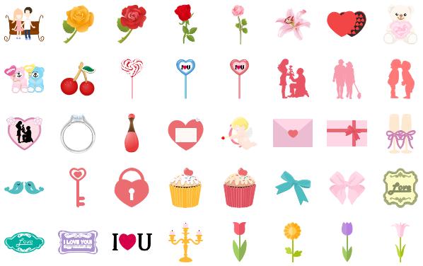Eléments pré-dessinés vectoriels d'infographie de la Saint-Valentin