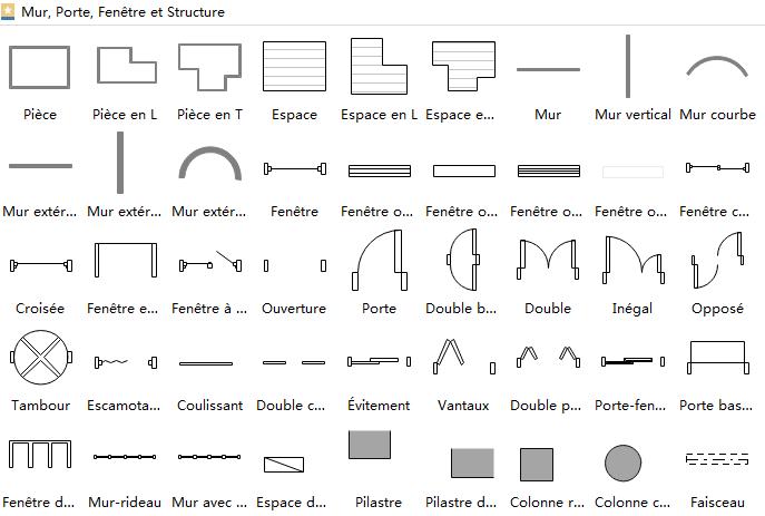Symboles de plan d'architecture