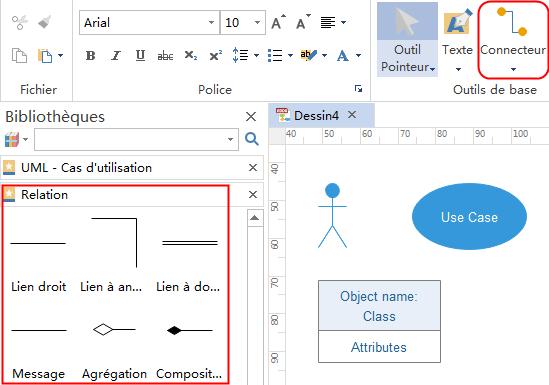 Connecter les formes de diagramme de cas d'utilisation