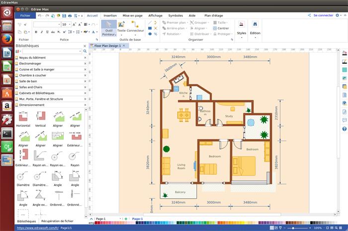 logiciel pour cr er des plans d 39 architecture sur linux. Black Bedroom Furniture Sets. Home Design Ideas