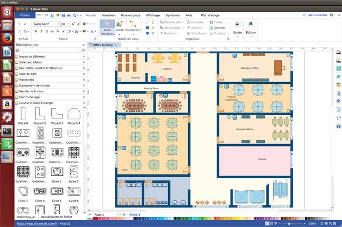 logiciel de plan d'aménagement de bureau pour Linux