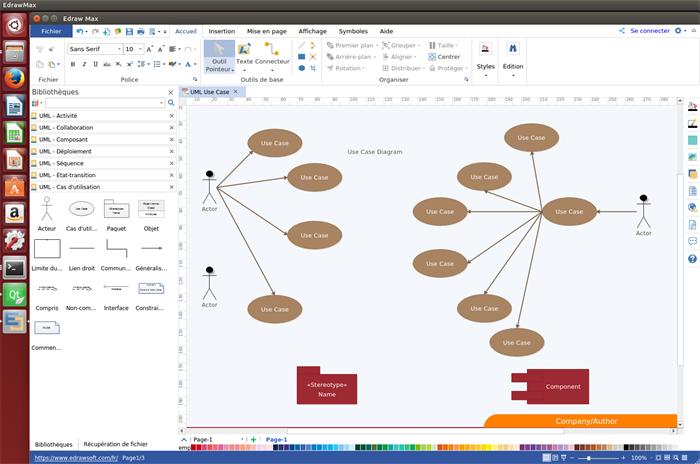 Aperçu du logiciel de diagramme de cas d'utilisation pour Linux