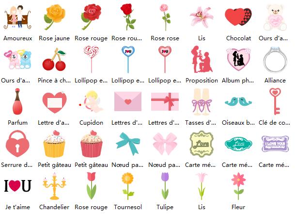Symboles de carte de la Saint-Valentin