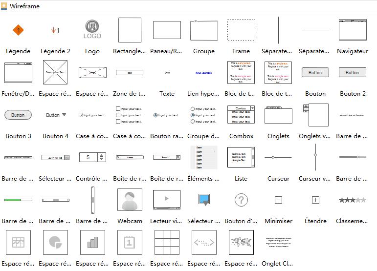 Symboles du logiciel de wireframe