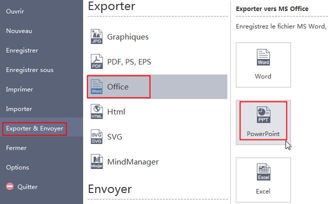 Exporter la carte mentale au PowerPoint