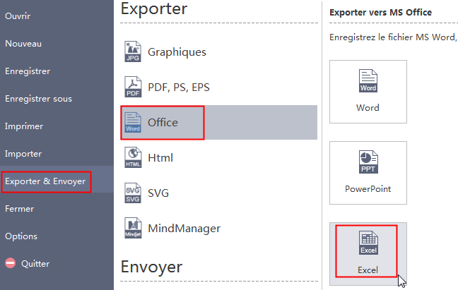 Exporter la carte mentale vers Excel
