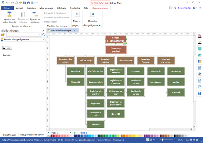 logiciel d'organigramme de société de construction