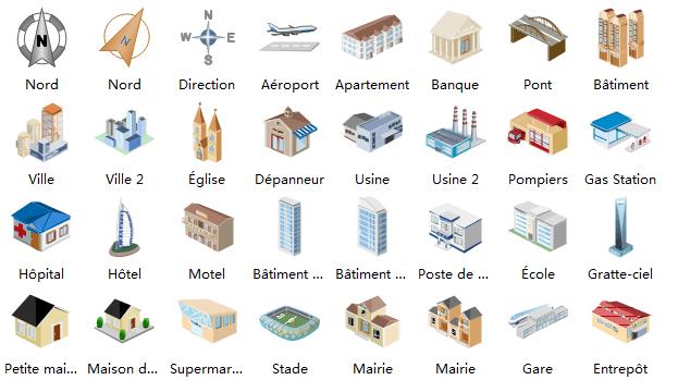 Plus de symboles de bâtiment
