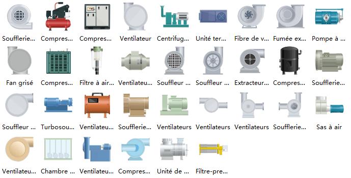 Symboles de ventilateur de schéma P&ID