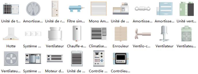 Plus de symboles de chauffage, ventilation et climatisation pour le schéma P&ID