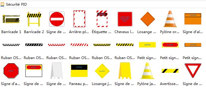 Symboles de sécurité de schéma P&ID