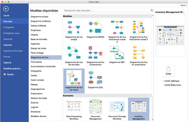 Logiciel de diagramme de flux de travail pour Mac