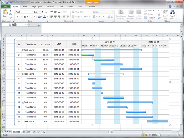 create gantt charts in excel