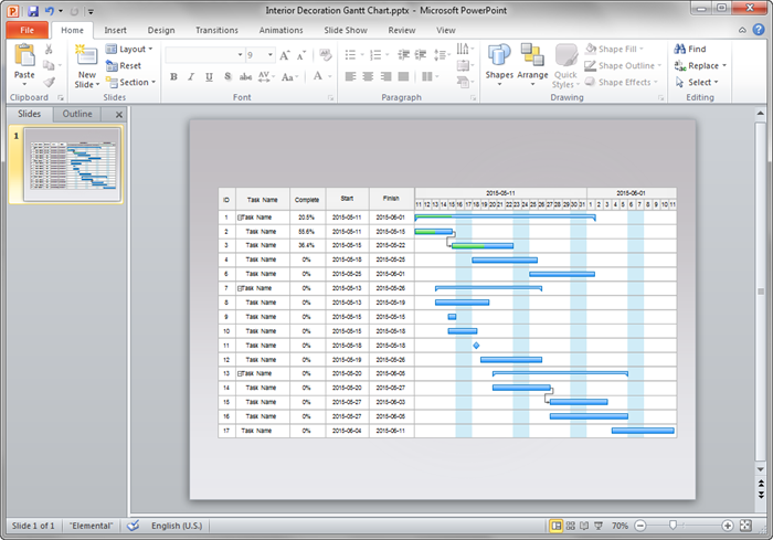 Create Gantt Chart for PPT