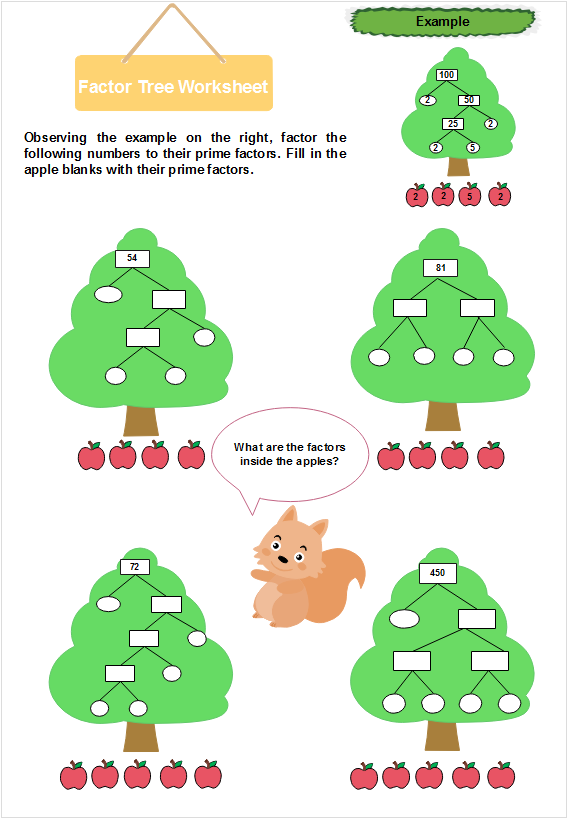Cartoon Factor Tree Worksheet Template