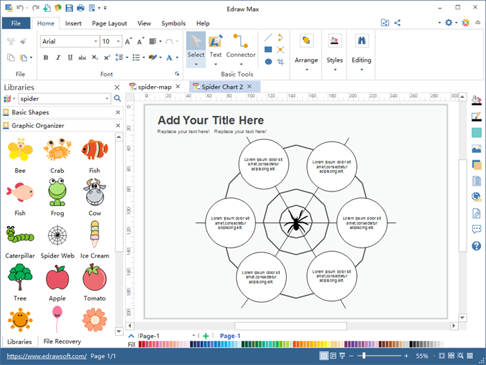 Spider Map Graphic Organizer Maker