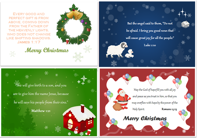 8 bible verses can be used on christmas card
