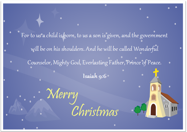 Christmas Card Bible Saying