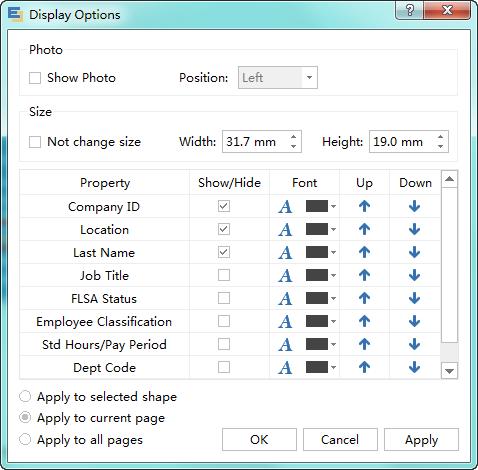 set display options