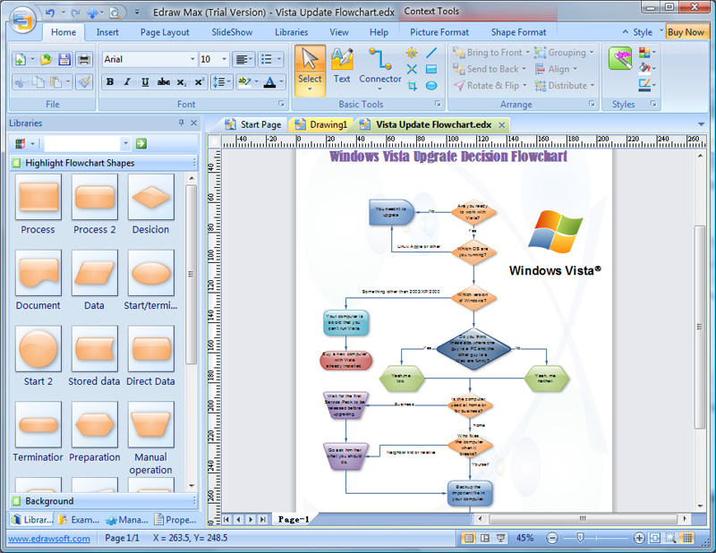 Click to view Edraw Flowchart Software 6.5 screenshot
