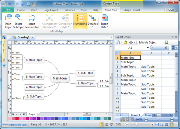 export mind map data to ms excel