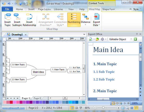 Mind Map Export Data to MS Word