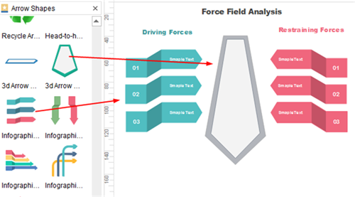 Add and Modify Arrows for Force Field Analysis Diagram