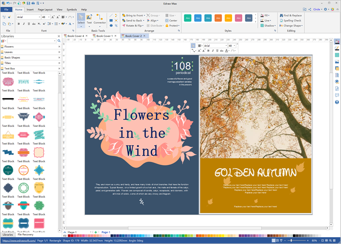 book cover design software interface