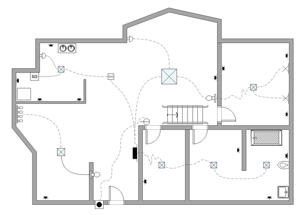 Electrical plan example House drawing plan layout