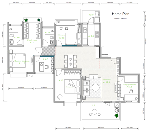 House plan example Building layout maker
