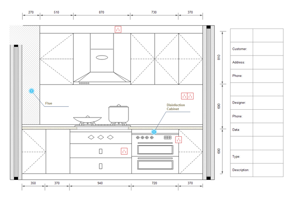 Examples of kitchen elevation for Planning a kitchen layout