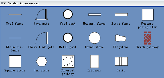 Symbols for building plan garden accessories