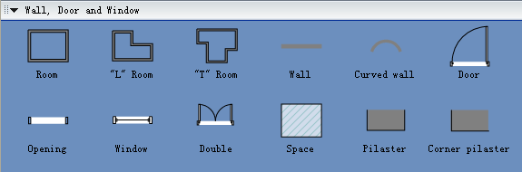 Symbols for Building Plan - Wall, Door and Window
