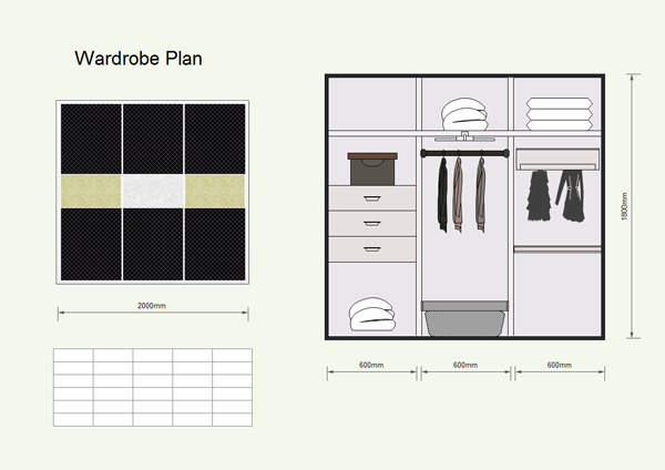 Wardrobe plan software and examples - Free closet design software online ...
