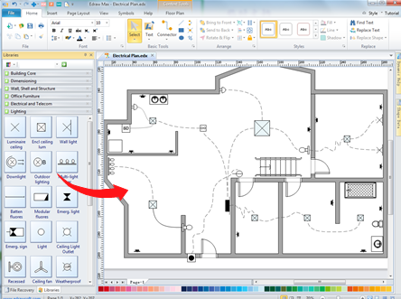 home wiring plan software making wiring plans easily rh edrawsoft com electrical wiring diagram izip i 130 electrical wiring diagram for light switch