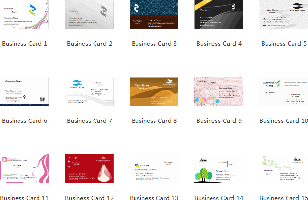 Business Card Templates/Examples