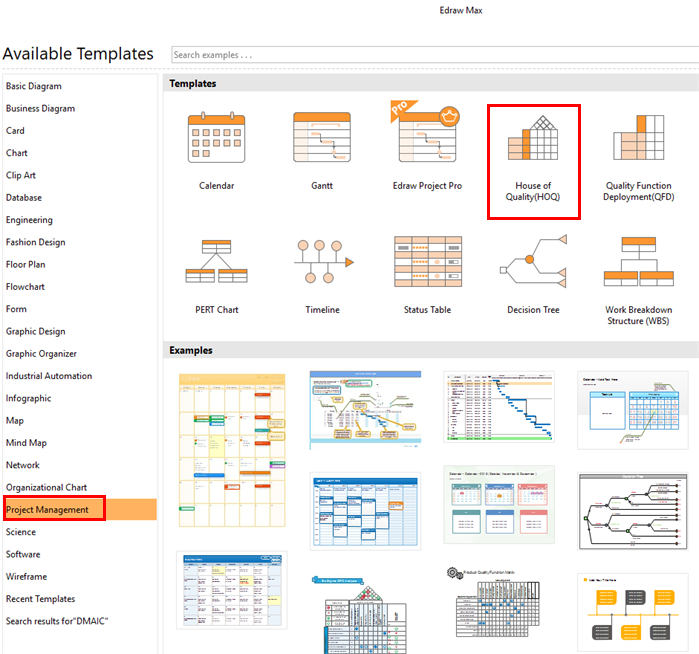 select six sigma matrix template