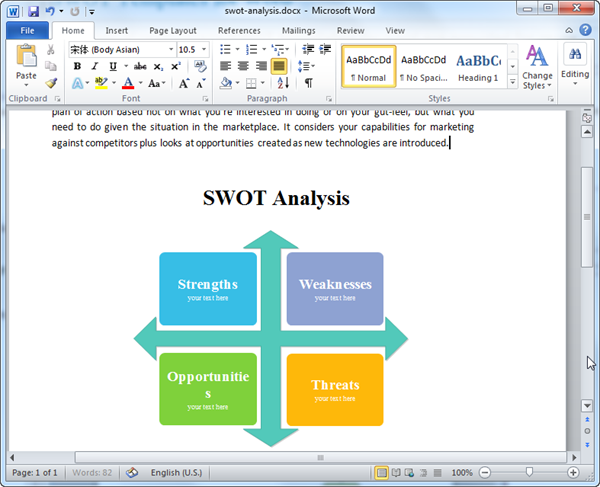 SWOT Templates for Word – Word Swot Template