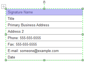 Detailed Signature Box for Quote Form