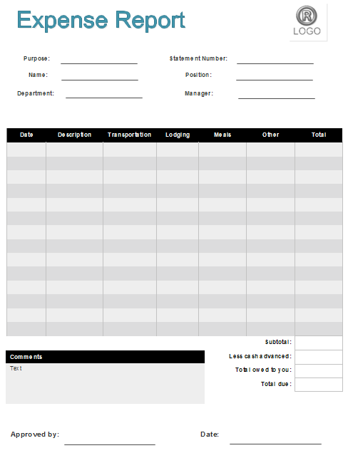 Expense Report Examples   Free Download  Detailed Expense Report Template