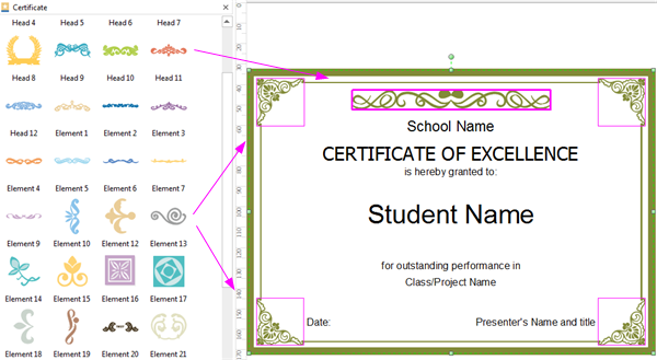 Edit Elements of Certificate Template