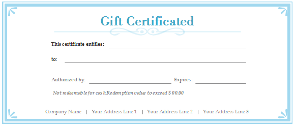 Free gift certificate templates customizable and printable gift certificate blue yadclub Image collections
