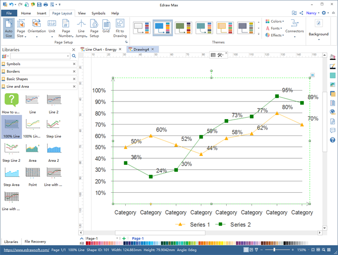 line chart software interface