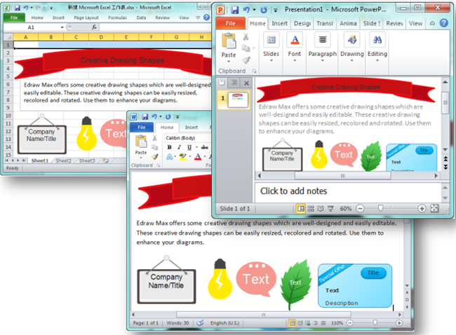 Creative Shapes in Word, PowerPoint and Excel