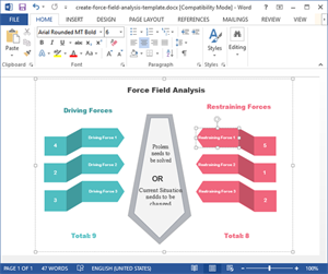 Modèle simple d'analyse des champs de force en Word