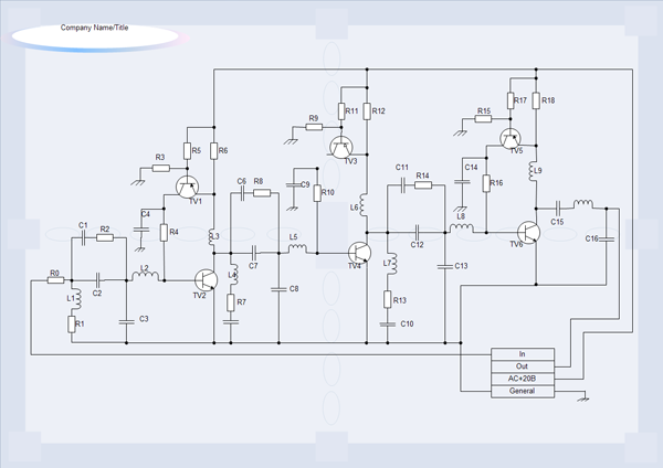 In our circuits diagram software you can use the action button to choose the right electrical symbols with one click.