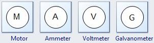Motor, Ammeter, Voltmeter