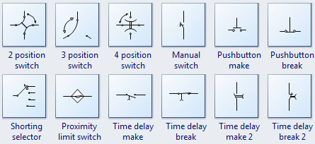 Standard circuit symbols for circuit schematic diagrams relay symbols ccuart Image collections