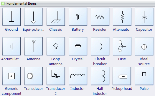 Electrical diagram software create an electrical diagram easily electrical diagram symbols fundamental items ccuart Image collections
