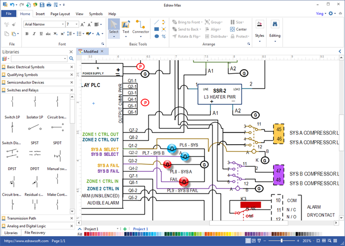 wiring diagram software draw wiring diagrams with built in symbols rh edrawsoft com electrical wiring diagram software open source electrical wiring diagram software download